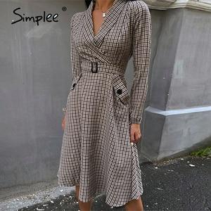 Image 5 - Simplee Vintage pleated belt plaid dress women Elegant office ladies blazer dresses Long sleeve female autumn midi party dress