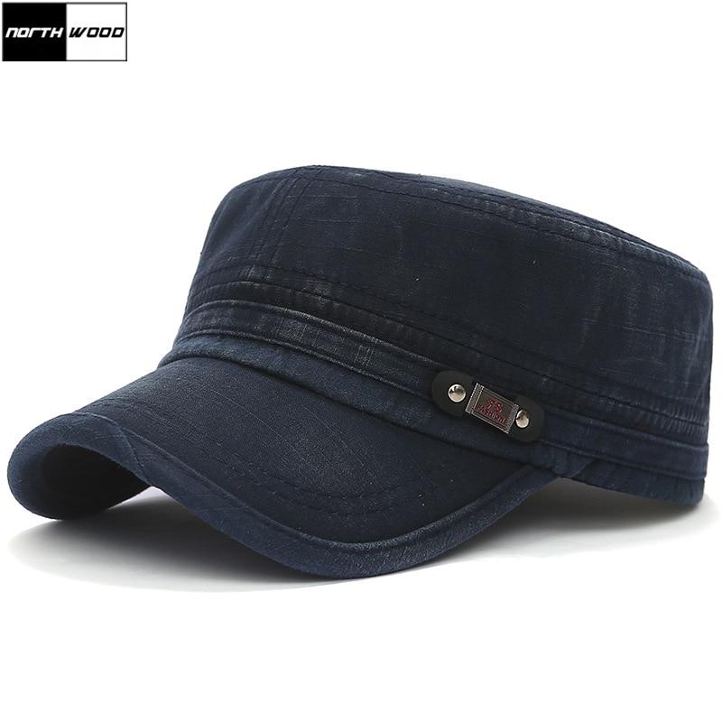[NORTHWOOD] High Quality Cotton Military Hats For Men Women Flat Top Caps Gorra Casquette Homme Fashion Bone Trucker Hat