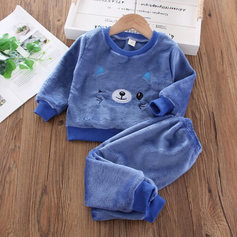 Baby Boy Winter Sets Plush Hooded Jacket 2pcs Children's Casual Outfit Suits Kids Arctic Velvet Tracksuit Toddler Girl Clothing 3