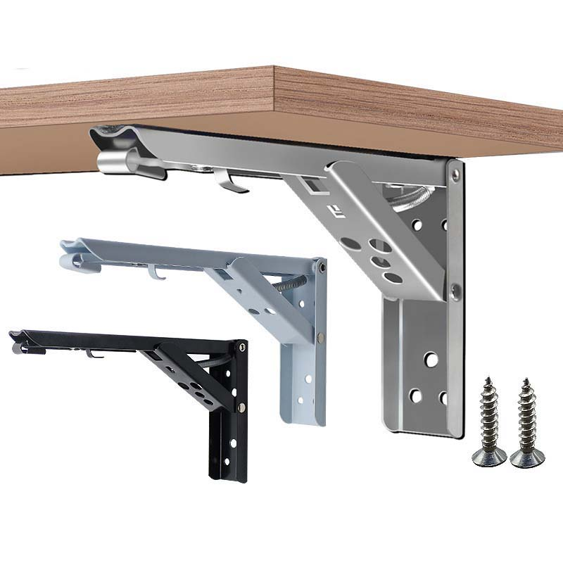 2PCS Stainless Steel Triangle Folding Angle Bracket Heavy Support Black Adjustable Wall Mounted Bench Table Shelf Bracket