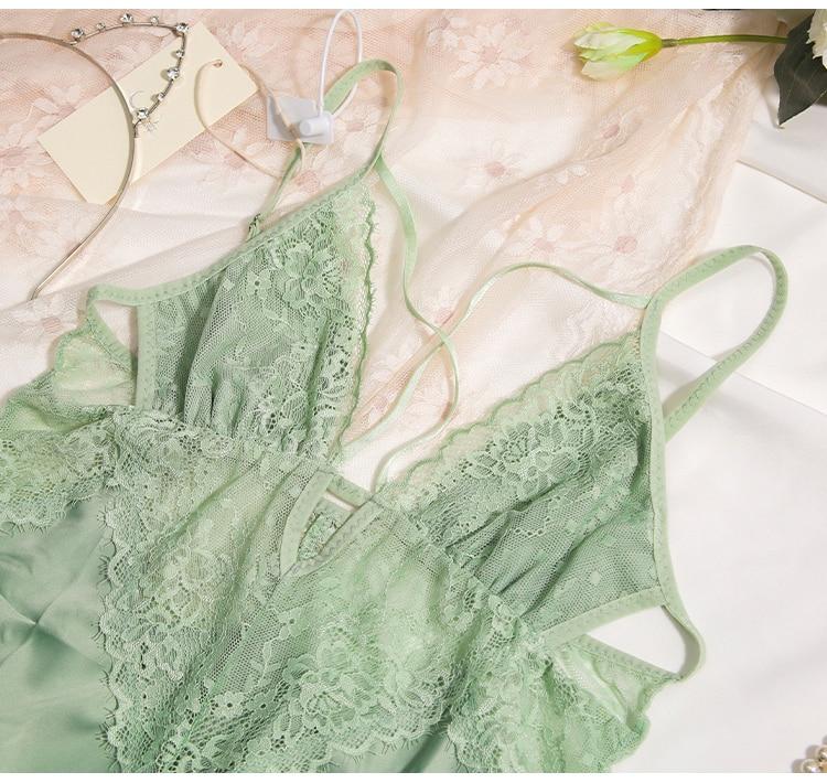 CINOON New Women Sexy Lace Nightwear Set Thin Silk Sling Sleepwear V-neck Cross Trim Nightdress And Panty Satin Soft Homewear (19)