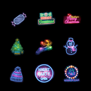 Image 4 - 50 Pz/pacco Al Neon Di Natale Adesivi Serie di Natale Babbo Natale di Doodle Autoadesivo Per Il Computer Portatile Del Mouse Moto Bagaglio di Skateboard Chitarra F4