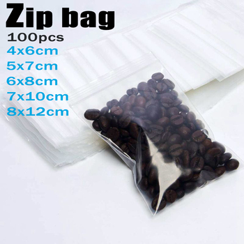 100pcs Thick Transparent Small Zip Lock Plastic Bags Buttons Screws Electronic Product Zipped Lock Reclosable Food Storage Bag image