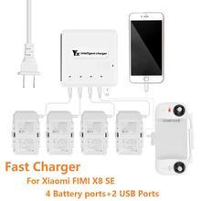Carregador de bateria inteligente 6 em 1, para xiaomi fimi x8 se, drone, bateria de carregamento inteligente, com porta usb controle de controle