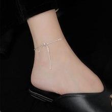 Bijoux fins en argent Sterling 925, chaîne serpent, nœud papillon, bracelets de cheville réglables, accessoires mignons pour femmes