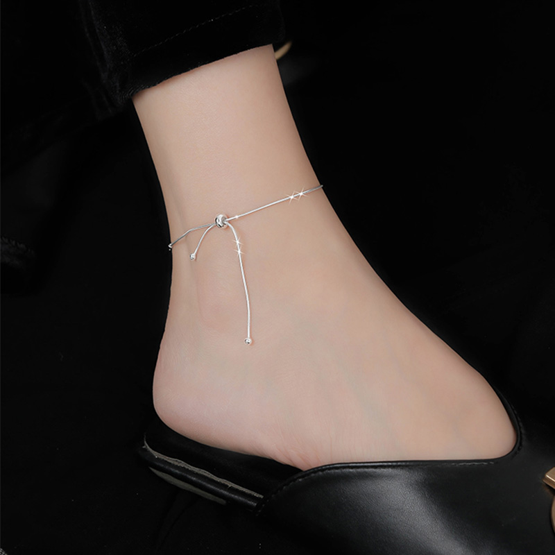 Fashion Fine Jewelry 925 Sterling Silver Snake Chain Bow Knot Anklets Adjustable Women Cute Accessories