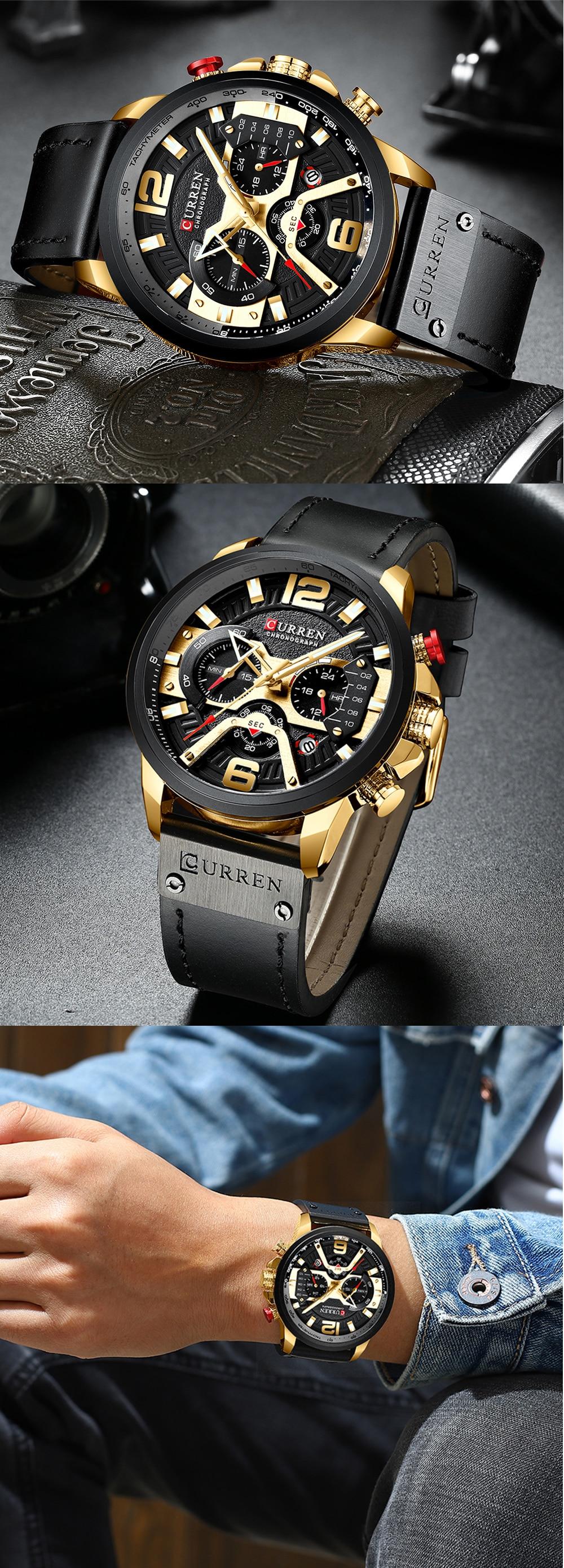 Hc240809b3f404eb1b621b7f2311da8b3T CURREN Watch Men Business Watches Orologio Uomo Leather band Wristwatch Leather Quartz Watch Zegarek Meski Reloj Hombre man gift