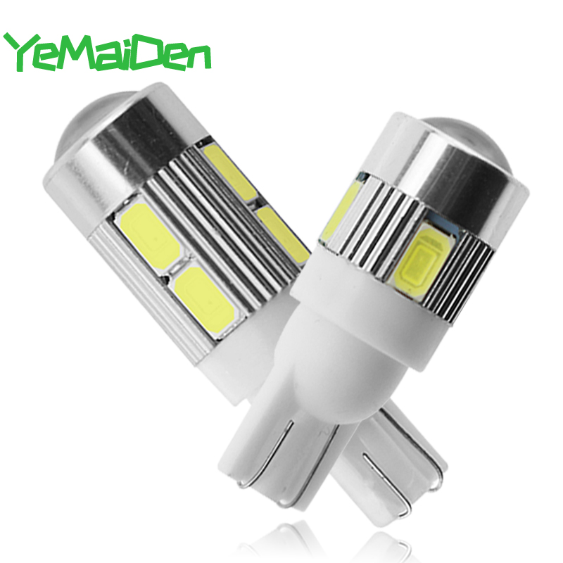 1pcs T10 LED Bulb 12V 7000K Signal Light Car 5W5 W5W LED 10 SMD 6 SMD 5630 Super Bright White Wedge Side Clearance Lamp 194 168
