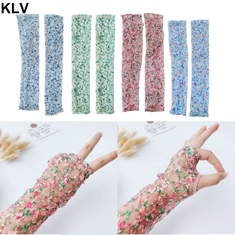 Women Summer Sunscreen Wrinkled Floral Lace Arm Sleeves Cover Candy Color Mesh UV Protection Driving Fingeless Gloves