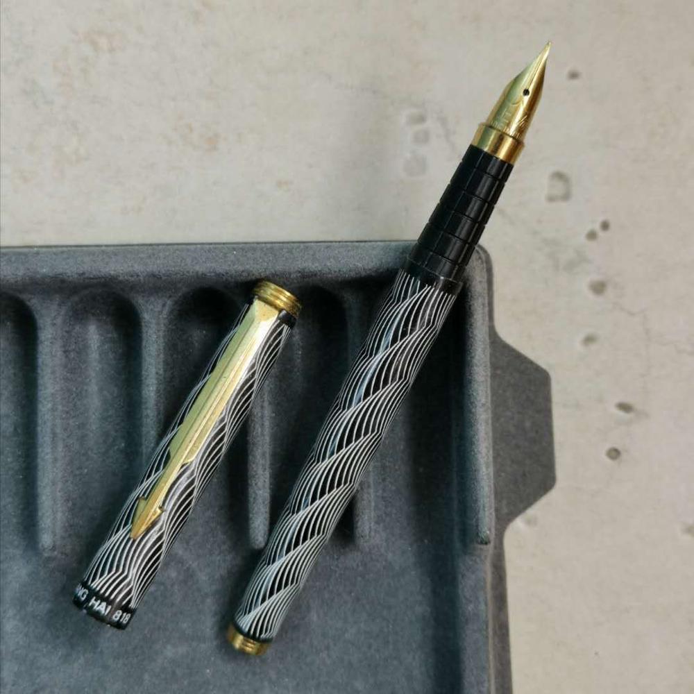 Shanghai Fountain Pen Ink Pen Aerometric Pen Wave Pattern Golden Clip Fine Nib Stationery Office school supplies|Fountain Pens| |  - title=