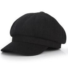 Модная однотонная шляпа унисекс из дикого войлока восьмиугольная кепка, зимняя шапка в Корейском стиле, Ретро Кепка для путешествий на весну и осень