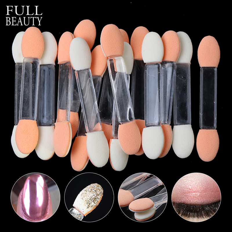 10pc Nail Mirror Powder Brushes Double Sided Eyeshadow Applicator Disposable Sponge Brushes Kit Makeup Cosmetic Supplies CH194