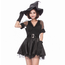 New Black Witch Costume Cosplay For Adult Halloween Women Carnival Party Suit Dress Up