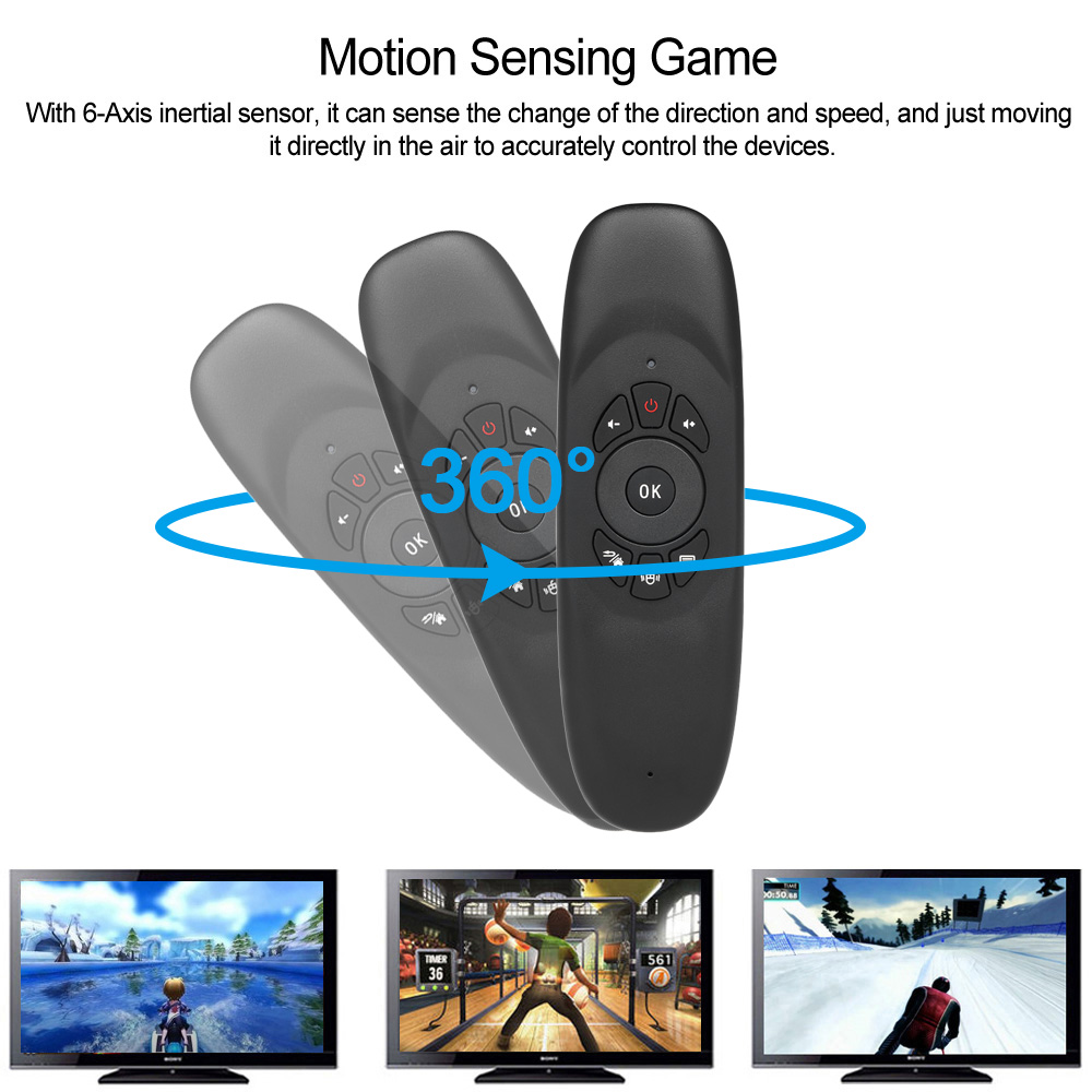 6 axes Gyroscope C120 2.4G Air Mouse Rechargeable Wireless Keyboard Remote Control for Android TV Box Computer English Version(6)