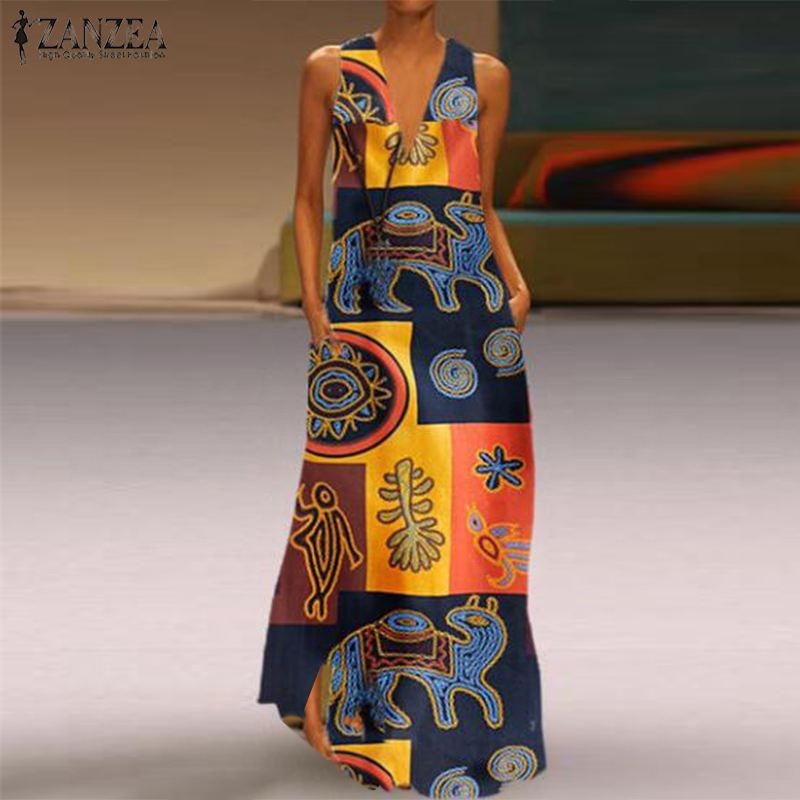 Angry Bohemian Female Maxi Dress Long Summer Floral Vintage Stamped Cotton Flax Tanks Dressed Casual In Robes Vest