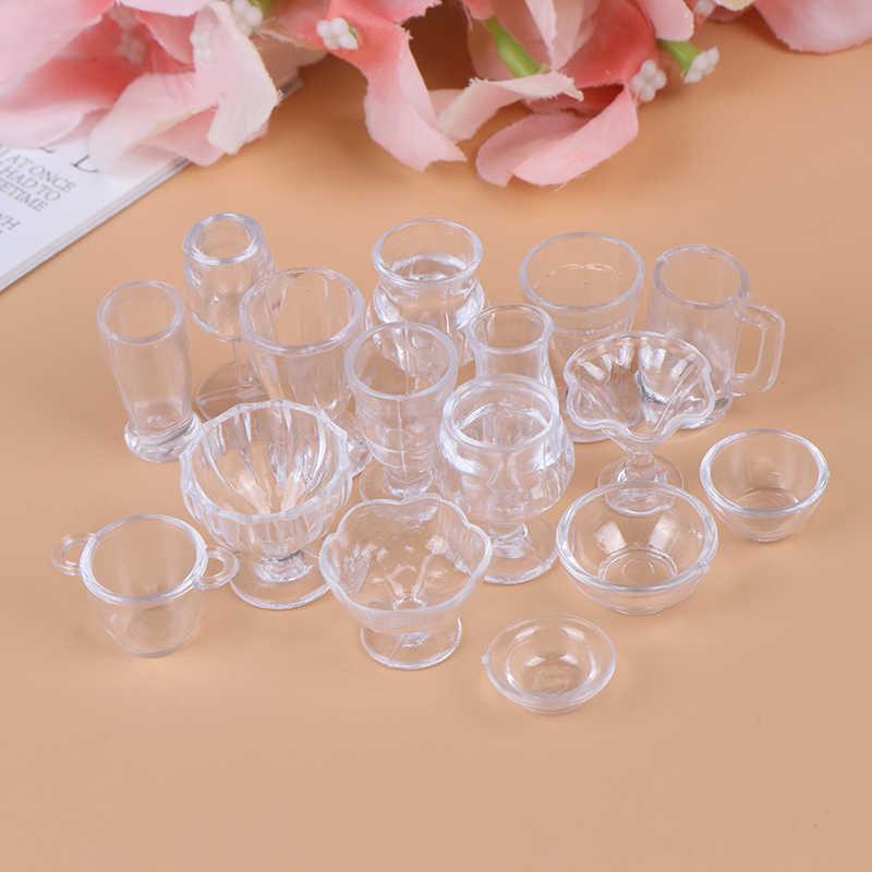 17Pcs//Set 1:12 Dollhouse Miniature Transparent Tableware DIY Kitchenware NWU/_ES