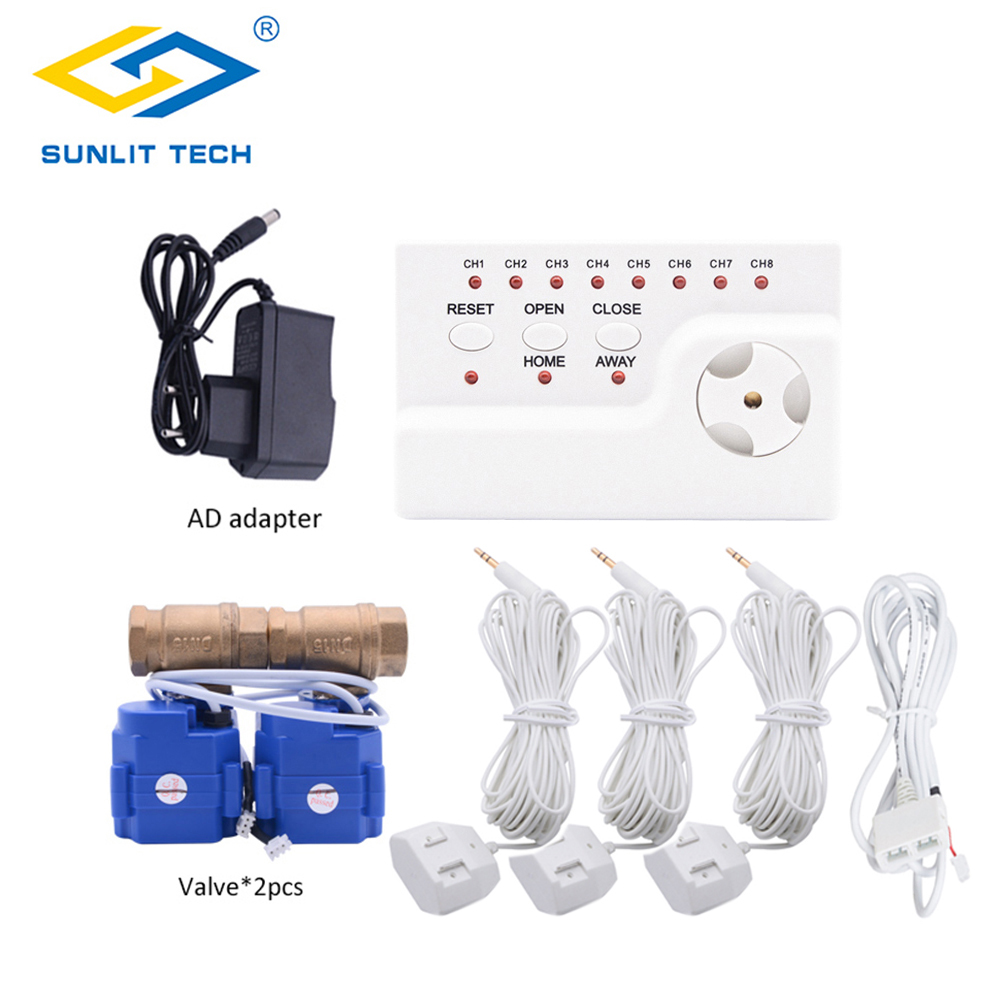 Home Smart WLD-806 Water Leak Sensor Alarm Kit With 2pcs DN15 Valve Water Leakage Detector Protection Against Water Leaking