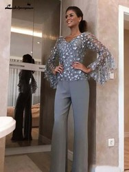 Silver Grey Lace Mother Of The Bride Pant Suits For Wedding Groom Dress 3D Floral Appliqued Long Sleeves Formal Outfit Garment