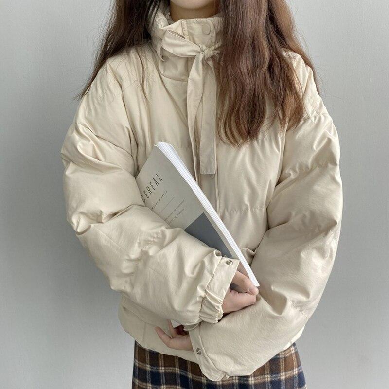 Зимний женский пуховик, новинка 2019, повседневное однотонное пальто с высоким воротом, женские толстые теплые парки, женская верхняя одежда, manteau femme hiver on AliExpress