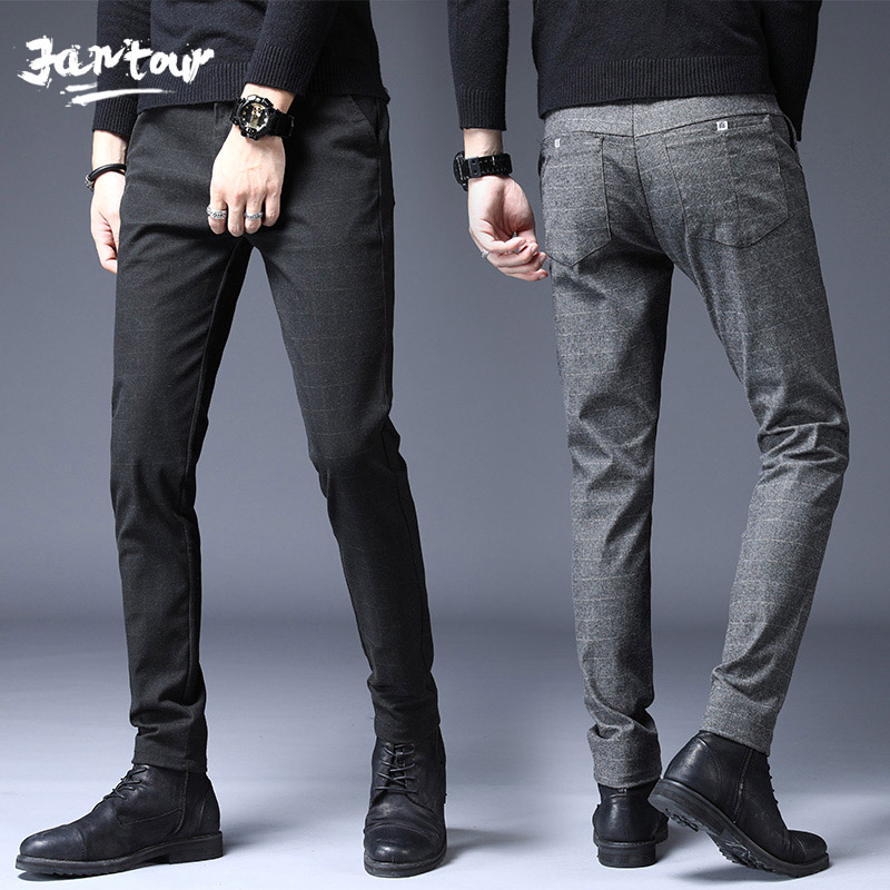 Autumn Winter Fashion High Quality Men Pants Straight Long Male Classic Business Cotton Thick England Plaid Casual Full Trousers