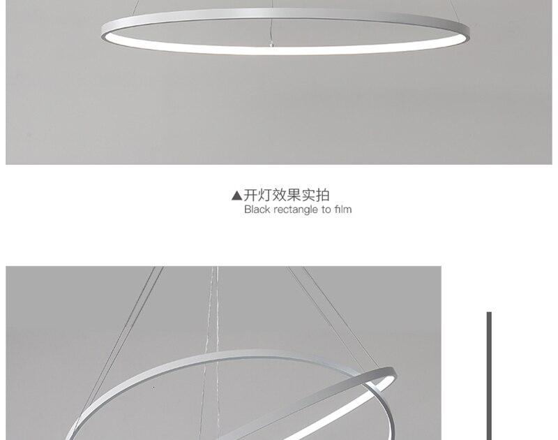 LICAN современная люстра, акриловые кольца, круглая белая черная подвесная люстра для фойе, кухни, столовой, люстры