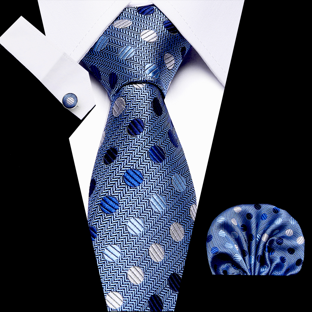 Vangise Men`s Classic Tie 7.5cm 100% Silk Novelty Geometric 44 Styles Tie Hanky Cufflinks Sets For Men`s Wedding Business Party