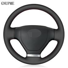 Diy mão-costurado preto couro artificial volante do carro capa para hyundai tiburon 2003-2008 coupe 2002-2008