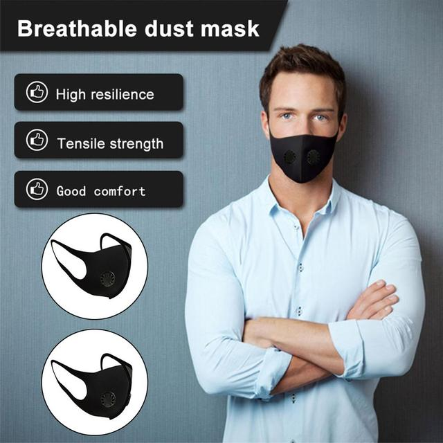 Воздухопроницаемая маска для рта против пыли, водонепроницаемая смываемая маска Hepa с двойным клапаном и фильтром из активированного угля, маски для лица