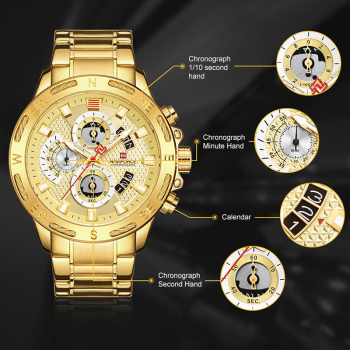 NAVIFORCE Luxury Brand Mens Sport Watches Gold Waterproof Military Clock 2