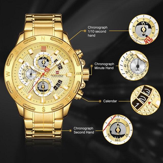 NAVIFORCE Luxury Brand Mens Sport Watches Gold Waterproof Military Clock 2