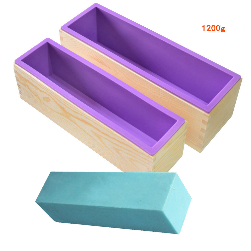 1200g/900g Rectangle Silicone Soap Making Mold Wooden Box Handmade Craft Soap Mould Toast Cake Loaf Mold Baking Kitchen Tools