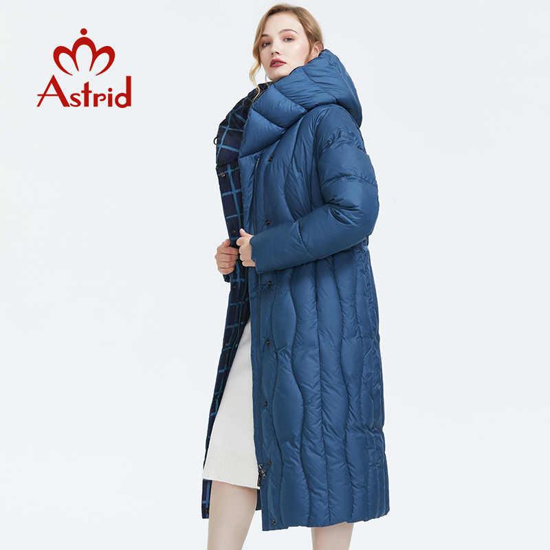 Astrid Musim Dingin 2019 Baru Jaket Wanita Longgar Pakaian Pakaian Kualitas Warna Biru Katun Tebal Mantel Musim Dingin AR-7051