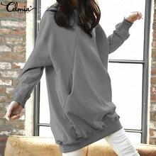 Celmia Women Casual Sweatshirts Autumn Plus Size Tops 2021 Winter Hoodies Pullovers Long Sleeve Loose Solid Blusas Femininas 5XL