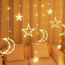 Twinkle Star/Moon Fairy Light Ornament 12 Led String String Lights per camera da letto Ramadan compleanno decorazioni natalizie per interni