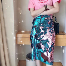 2020 New Knee Long Skirts Women Fashion Bling Sequins Wrap Skirt Elegant Party Slim Fit Match Color Female Glitter Pencil Skirts(China)