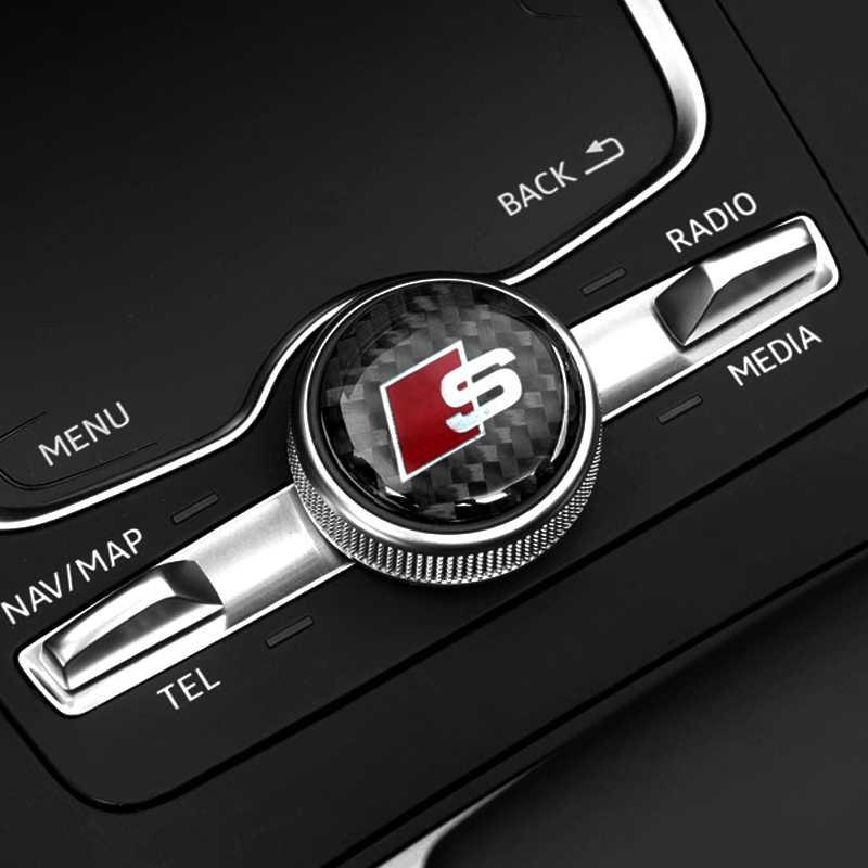 1pcs multimídia botão adesivo decalque do emblema do carro de fibra de carbono preto Para Audi a3 a4 a5 s4 s5 s6 s7 a6 c5 c6 b7 b8 b6 q3 q5 q7 8p 8v