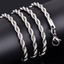 New Gold Silver Twist Necklace Men Women Suspension Rope Chain Wedding Engagement Pendants Fashion Jewelry Travel Gift Unisex(China)