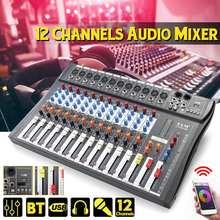 Mezclador de Audio profesional con bluetooth, consola mezcladora de sonido con USB para DJ, conector MP3, Karaoke de 12 canales, amplificador de 48V para fiesta de KTV Match