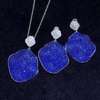 blue color irregular 925 sterling silver with cubic zircon drop earring and pendant jewelry set fashion jewelry for party