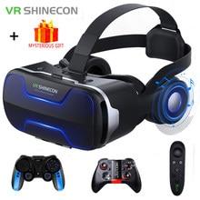 Vr shinecon 3 d casque viar óculos 3d realidade virtual fone de ouvido capacete óculos lentes aumentadas para telefone smartphone binóculos