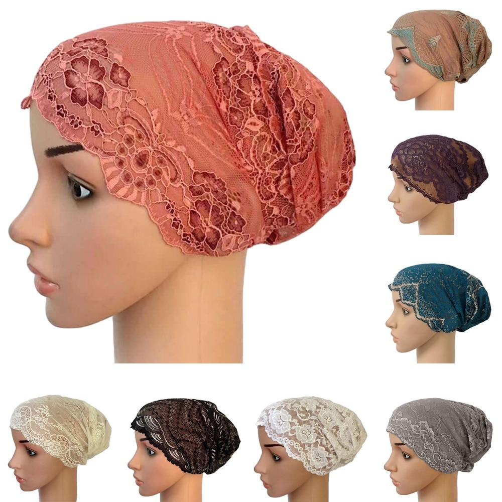 Muslim Hijab Underscarf Turban Lace Inner Cap Ninja Hat Headwear Women Islamic Under Scarf Headscarf Beanie Bone Bonnet Hijabs