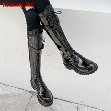 Boots Krazing-Pot Thigh Equestrian-Boots Cross-Tied Rock Big-Size Winter L29 Singer Round-Toe