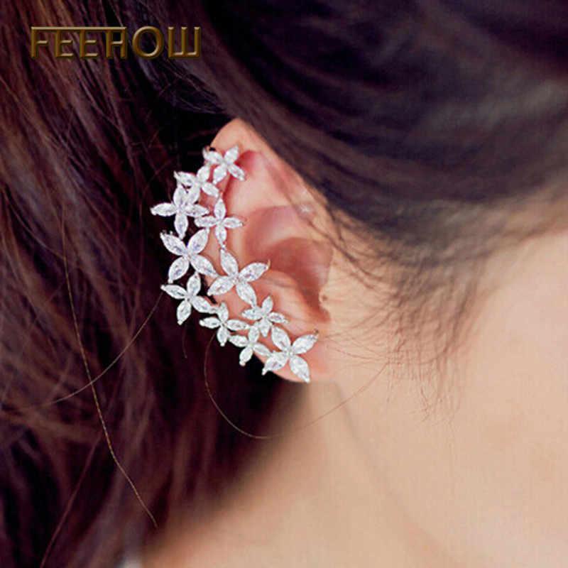 FEEHOW Milky WAY Marquise CZ Zircon ต่างหูแจ็คเก็ต Shining สีขาวคริสตัลดอกไม้หูเครื่องประดับสำหรับของขวัญผู้หญิง FWEP530