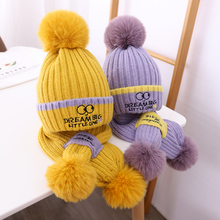 Doitbest 2 to 8 years old baby kids beanie Princess Acrylic warm boy's Knitted hats winter 2 pcs boy girl hat scarf set
