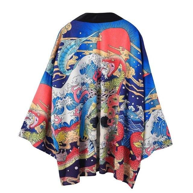 Kimono Jacket Mens Kimono Shirt Yukata Haori Samurai New Japanese Kimono Cardigan Men Haori Yukata Male Samurai Costume Clothing