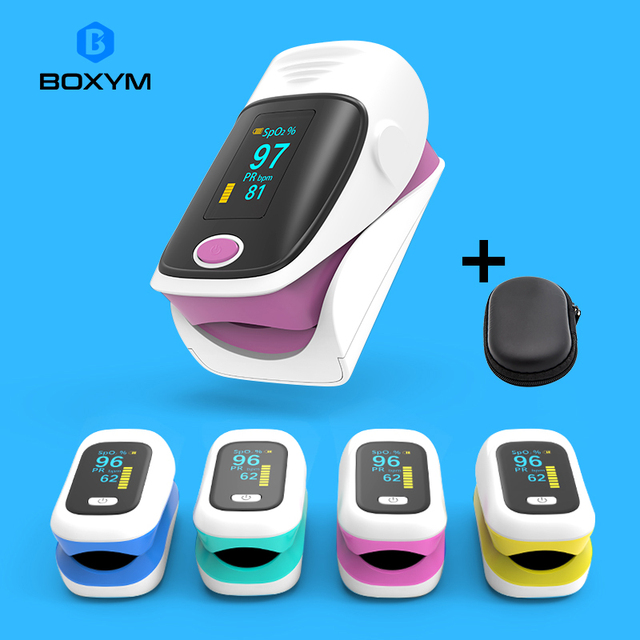 BOXYM OLED Finger Pulse Oximeter Oximetro de dedo blood oxygen Heart Rate Saturation Meter Saturometro Monitor CE