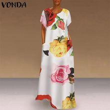VONDA Bohemian elbise kadınlar Casual Vintage Patchwork ekose Maxi elbise 2020 yaz plaj Sundress artı boyutu uzun parti elbiseler