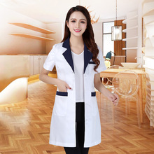 Summer women's white coat laboratory Robe science lab coat beauty salonSlim clothing nursing uniforms scrubs uniform