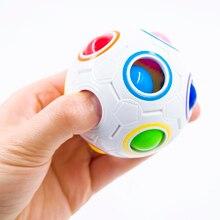Nueva Venta Creativo Arco Iris Creativo de Fútbol Bola Niños Esférica Cubo Mágico Rompecabezas de Juguete de Aprendizaje Y Educación Juguetes