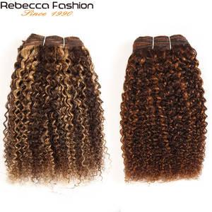 Hair-Weave-Bundles Human-Hair Afro Kinky-Wave Rebecca Brazilian for Salon Mixed-Blonde